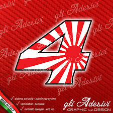 Adesivo Stickers NUMERO 4 moto auto cross gara JAPAN 10 cm