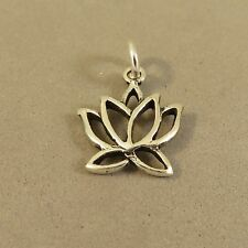 .925 Sterling Silver Sm OPEN LOTUS Charm NEW Pendant Waterlily Flower 925 GA59