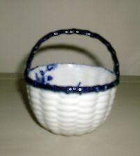 Antique Porcelain Bowl Basket Weave Blue & White Worcester Mark