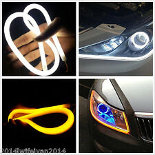 "23"" Side Glow White/Amber Switchback LED Strip Lights For Headlight DRL & Signal"