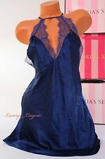 NWT VICTORIA'S SECRET Lingerie VS Slip Slick Lace Babydoll Unlined L Navy Blue