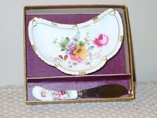 Lovely Floral Royal Crown Derby Cheese Dish & Knife Posies