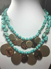 CHICO'S TURQUOISE BIB NECKLACE ~ HAMMERED GOLD MEDALLIONS ~ TEAL CHIPS STONE