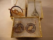 USA-3pc Harry Potter,Time Turner necklace & earring,Deathly Hallow BRONZE NECKLA