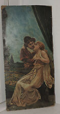 Antique Oil Painting ROMEO & Juliet LOVERS Love Couple Romantic Painting 1800s