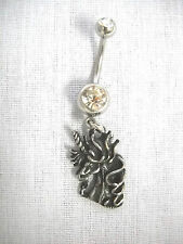 NEW ANTIQUED PEWTER BEARDED UNICORN HEAD CHARM CZ BELLY BAR / BELLY BUTTON RING