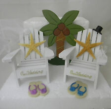 Wedding Reception Real Starfish Adirondack Glasses Cake Topper Beach Chairs