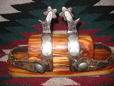 NICE HEAVY DUTY CROCKETT ENGRAVED SILVER MOUNTED SWEET IRON BRONC SPURS & STRAPS