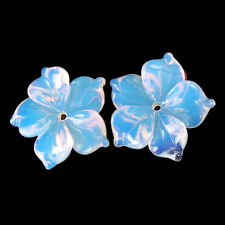A0382 15x3 Pair Opal Carved Flower Pendant Beads