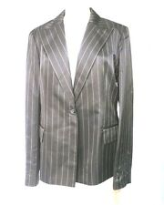 MAG MAGASCHONI BLACK SILK PINSTRIPE BLAZER JACKET BEADED EVENING NWT $300 SZ 12
