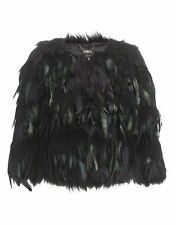 LIPSY SIZE 6-8 FAUX BLACK FUR FEATHER KIM KARDASHIAN JACKET WOMENS LADIES COAT