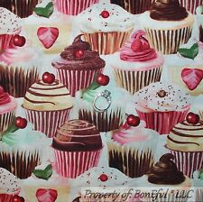 BonEful FQ Fabric Cotton Quilt Pink Red L Cupcake Cherry Dot Birthday Strawberry