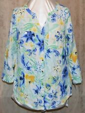 MACY'S JM COLLECTION TABBED SLEEVE TUNIC LENGTH BLOUSE 100% WASHABLE LINEN 14W