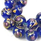 Lampwork Handmade Glass Blue Moonlight swirl Round Beads 10mm