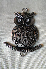 A great Owl on branch pendant , paste stones for eyes,free u.k.p&p