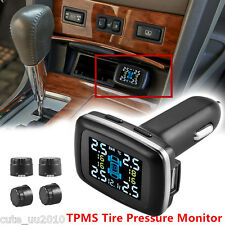 Car Auto Cigarette Lighter TPMS Tire Pressure Monitor System 4 External Sensors