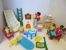 Vintage Lot Fisher Price Loving Black Family Furniture  People Fireplace Stairs