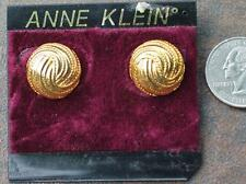 New Original Card Old Stock ANNE KLEIN Goldtone Textured Round Pierced Earring 2