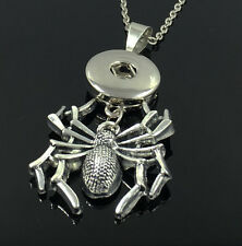 DIY 1pcs Spider Alloy Pendant With Charm Necklace Fit 18mm Snap Chunk Button C3
