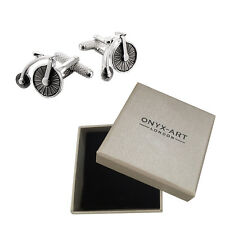 Mens Silver Penny Farthing Bike Cufflinks & Gift Box By Onyx Art