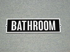 """Vintage Retro Style Black With White Letters BATHROOM Door Sign 8"""" x 2 1/4"""""""