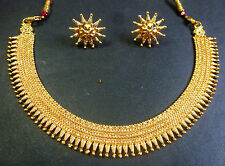 South Indian Surya Rani haar Gold Plated Necklace earings Wedding Bridal Jewelry