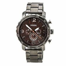 Fossil JR1355 Men's Nate Chrono Brown Dial Steel Bracelet Quartz Watch