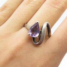 Signed Vtg 925 Sterling Silver Real Amethyst Gemstone Modernist Ring Size 10