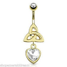 Celtic Knot Single Clear Gem Heart Dangle 14kt Gold Plated Navel Ring Belly Bar