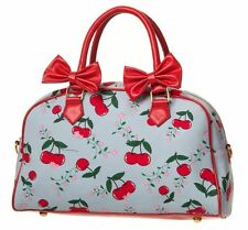 BANNED BLUE RED CHERRY BOW VINTAGE 50'S STYLE HANDBAG BAG TATTOO ROCKABILLY NEW