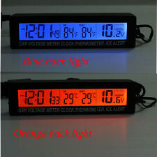 12V/24V In/Out Car Voltage Meter LCD Digital Clock Time Blue&Orange Back Light
