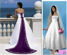White and Purple Embroidered Satin Wedding dress Ball Gown Custom Size 4-20+
