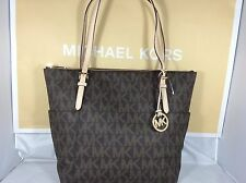 NWT Michael Kors Brown MK Signature PVC Jet Set Item East West Tote Bag Purse