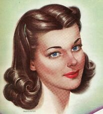 """VINTAGE 1940's Girl Pin Up Hair Ad Color Photo Picture 8""""X8"""""""