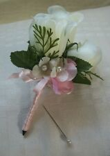 Women's mother's corsage silk off white rosebud  pink hydrangea petals bows