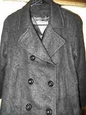J. Perry Marvin Richards Black Shaggy Mohair Wool Double Breasted Coat Jacket 8