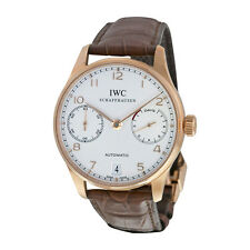 IWC Portuguese Silver Dial 18kt Rose Gold Brown Leather Strap Automatic Mens