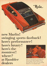 1964 vintage automobile ad, Rambler Marlin Fastback, Red and Black -091212