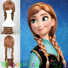 Hot Movie Frozen Princess Anna Wig Brown Cosplay Wig Anime Party Lady Wig