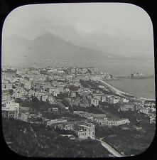 Glass Magic Lantern Slide NAPLES BAY FROM POSILIPO C1890 PHOTO ITALY NAPOLI