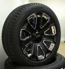 "Satin Black and Chrome 22"" Chevy Silverado Tahoe Wheels Tires. New for 2015"
