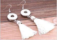 Snap It Tassel Earrings Fit Mini Snap Button Jewelry Silver for Noosa Style DZ06