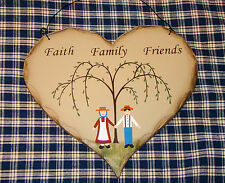 "pRiMiTiVe ""Faith Family Friends"" Heart Sign Inspirational VINTAGE Rustic Country"