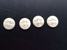 HAND CARVED BUFFALO BONE LOT OF 4 MOON FACE