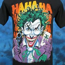 vintage 80s BATMAN THE JOKER HAHAHA T-Shirt SMALL gun dc comics movie cartoon