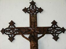 ANT. LARGE GREAT CARVED WOOD CRUCIFIX & CORPUS CHRISTY