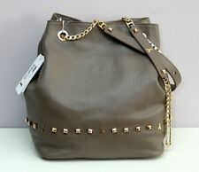 Patrizia Pepe Bucket Bag or Backpack Genuine Leather Light Brown  Made in Italy
