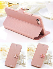 Glitter Rhinestone Butterfly Silk Leather Flip case cover For iPhone 6 7 Plus SE