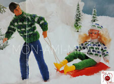 Vintage Knitting Pattern BARBIE SINDY ACTION MAN DOLLS CLOTHES SKI SUIT HAT  PDF