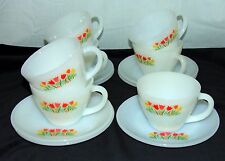 7 Fire King TULIPS PREMIUM* RED*ORANGE*YELLOW *CUPS & SAUCERS*